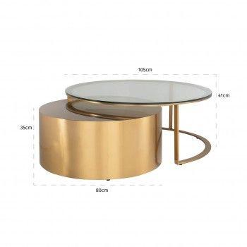 Table de salon Orlan set de2 Tables basses rondes - 46