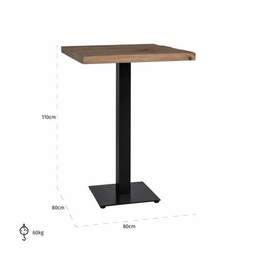 Table bistrot Gastronomy 80x80, un pied square Meuble Déco Tendance - 151