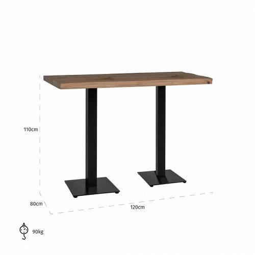 Table bistrot Gastronomy 120x80, deux pieds square Meuble Déco Tendance - 171