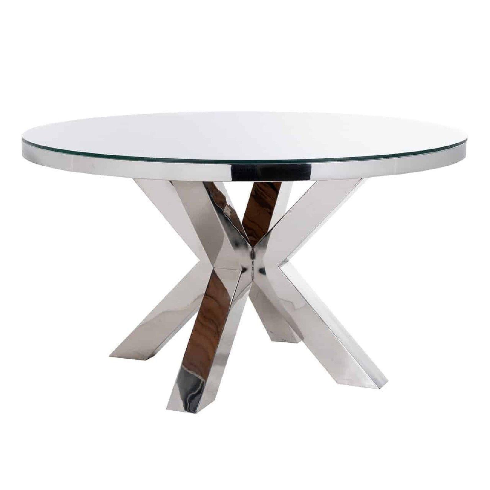 Table à dîner Kensington round 140Ø incl. verre Meuble Déco Tendance - 4