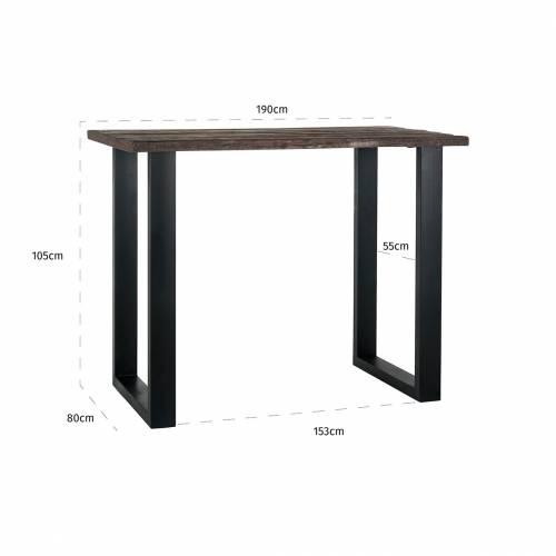 Bar table Raffles 190x80, Recyceld wood Meuble Déco Tendance - 78