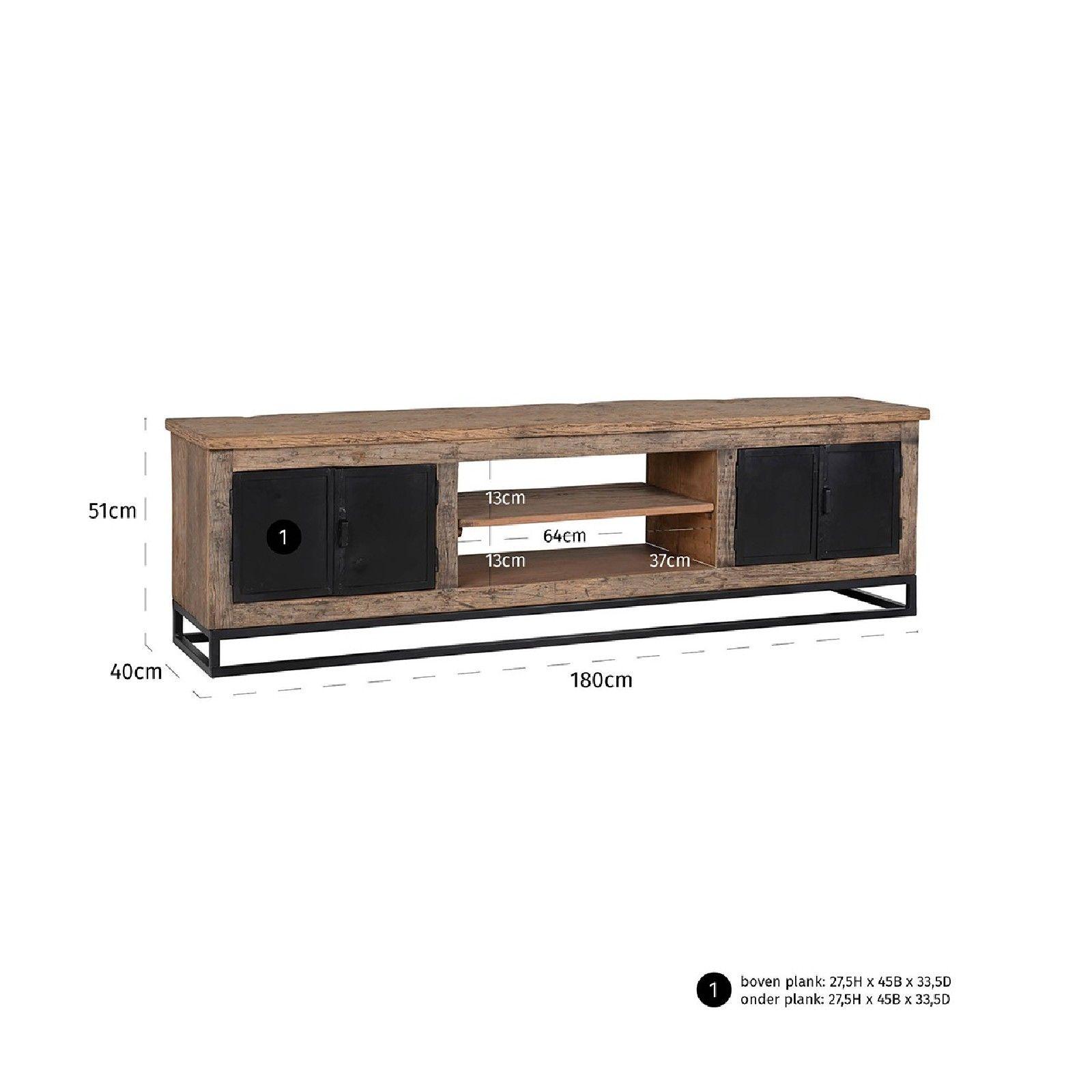 Meuble TV Raffles 4-portes, Recyceld wood Meuble Déco Tendance - 250