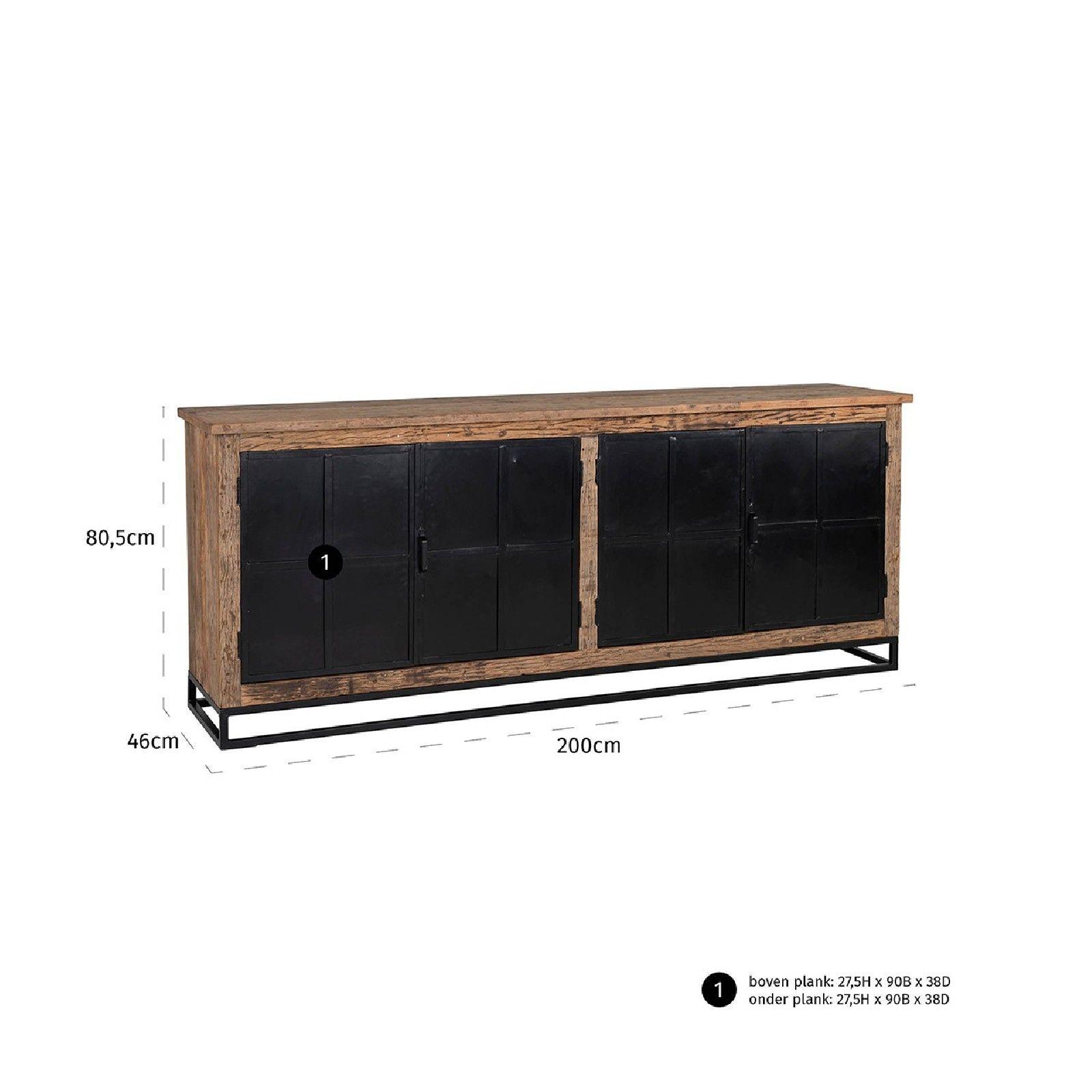 Bahut Raffles 4-portes, Recyceld wood Meuble Déco Tendance - 218