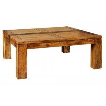 Table basse carrée Tatoo haut de gamme en bois d'acacia massif