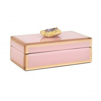 Boîte à bijoux Jaylyn rose/or