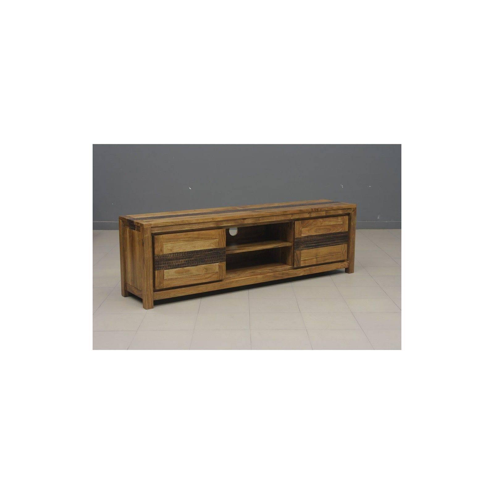 meuble tv tatoo haut de gamme en bois d acacia massif 2 portes et 2 niches