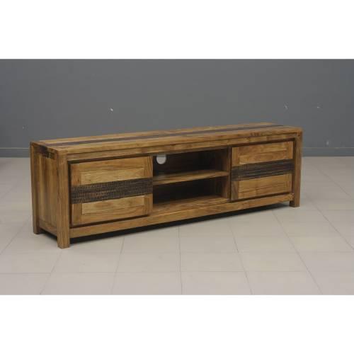 Meuble tv Tatoo haut de gamme en bois d'acacia massif 2 portes et 2 niches