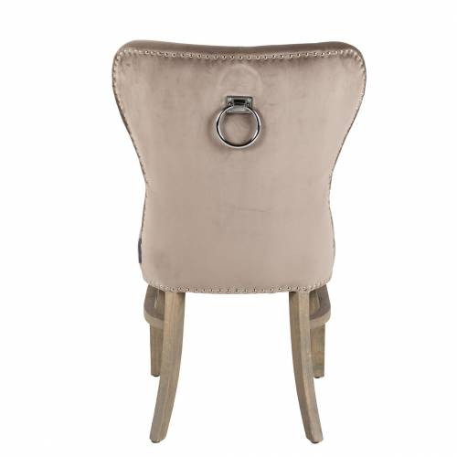 Chaise Genesis fire retardant, Velvet TaupeSilver nails and ring Salle à manger - 3