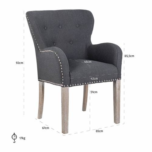 Chaise Ivy, Fire RetardantSilver nails and ring Salle à manger - 203