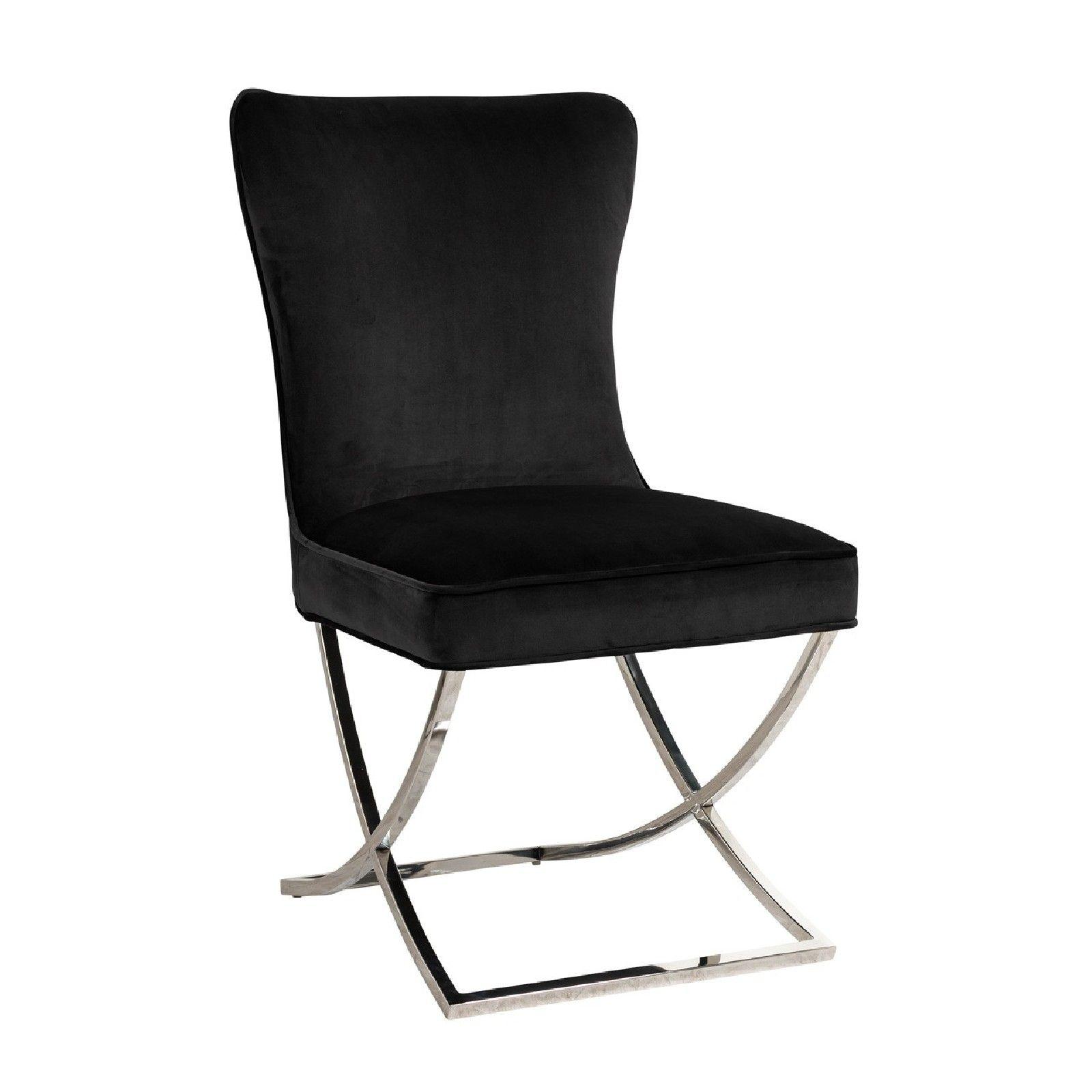 Chaise Scarlett Black velvet / silver Salle à manger - 49