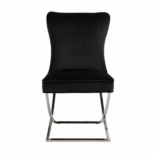 Chaise Scarlett Black velvet / silver Salle à manger - 170