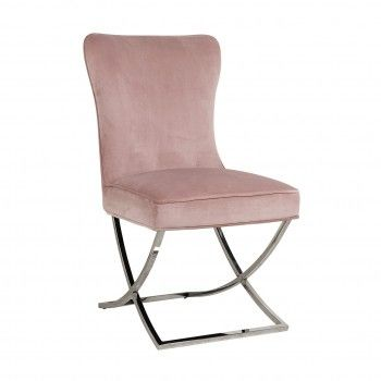 Chaise Scarlett Pink velvet / silver Salle à manger - 59