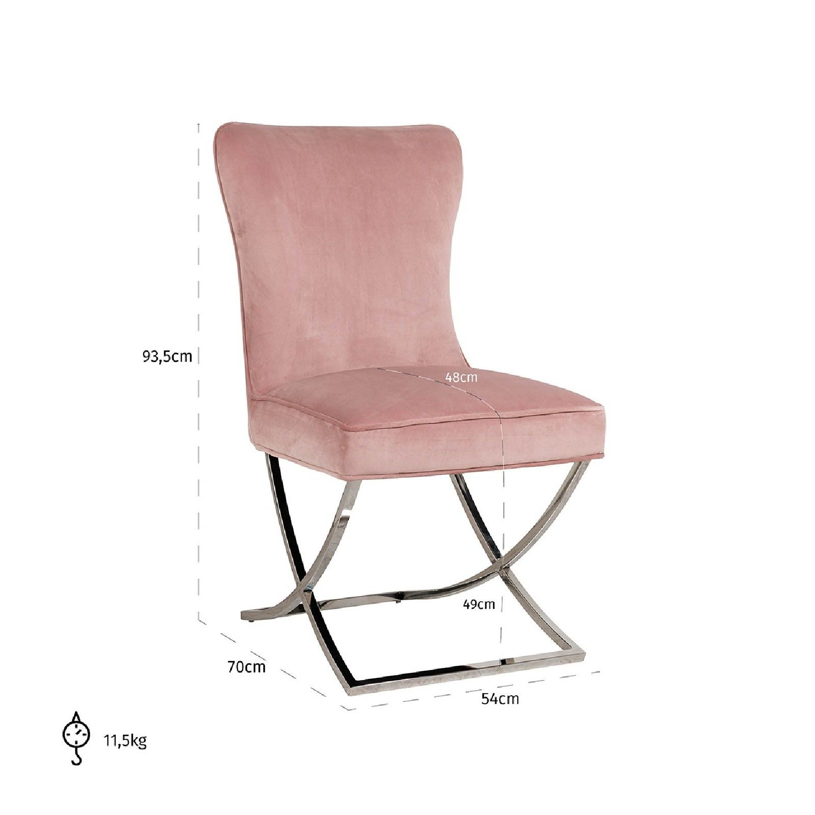 Chaise Scarlett Pink velvet / silver Salle à manger - 199