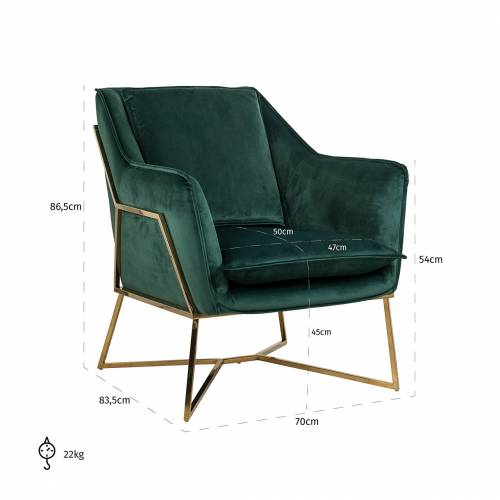 Fauteuil Aurelia Green velvet / gold Fauteuils - 281