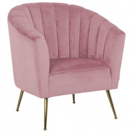 Fauteuil Shelly Pink velvet / doré