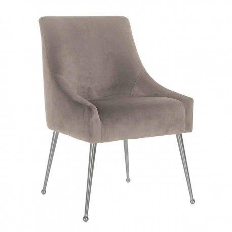 Chaise Indy Khaki velvet/ argentée