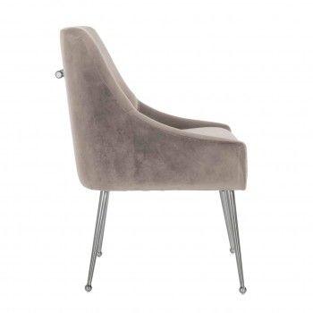Chaise Indy Khaki velvet/ argentée Salle à manger - 68