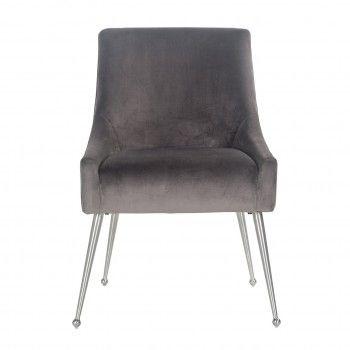 Chaise Indy Stone Velvet/ argentée Salle à manger - 179