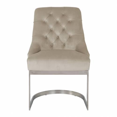 Chaise Chaya Khaki velvet / silver Salle à manger - 4