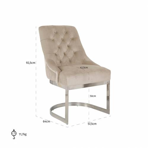 Chaise Chaya Khaki velvet / silver Salle à manger - 5