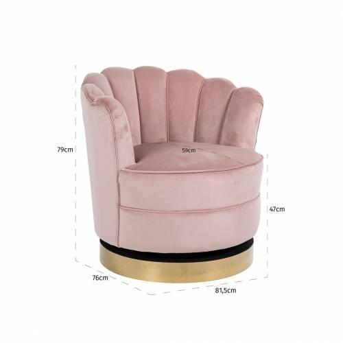 Chaise pivotante Mila Pink Velvet Fauteuils - 277