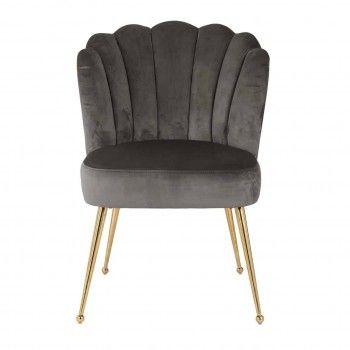 Chaise Pippa Stone velvet / gold Salle à manger - 183