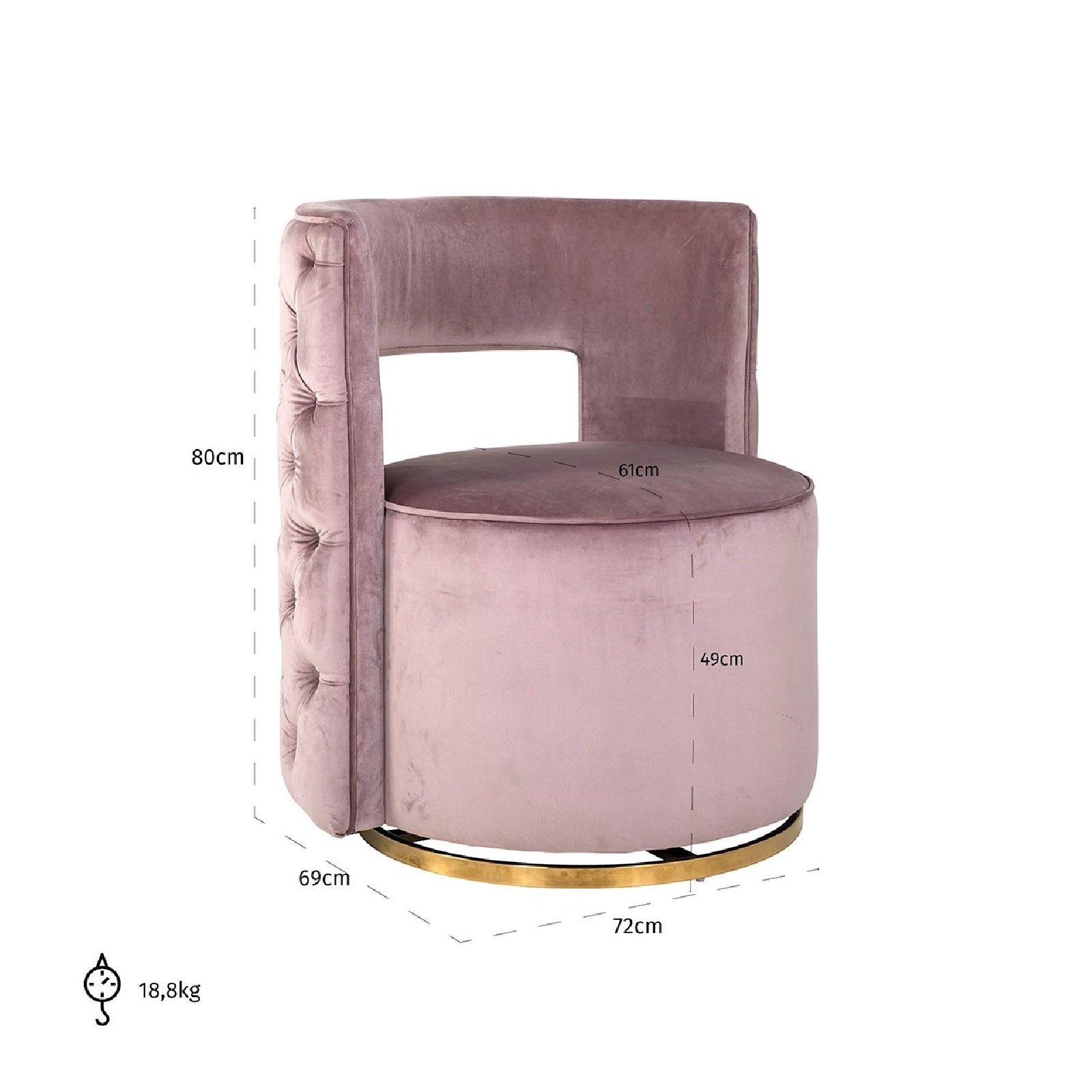 Fauteuil pivotante Jamie Pink velvet / gold Fauteuils - 278