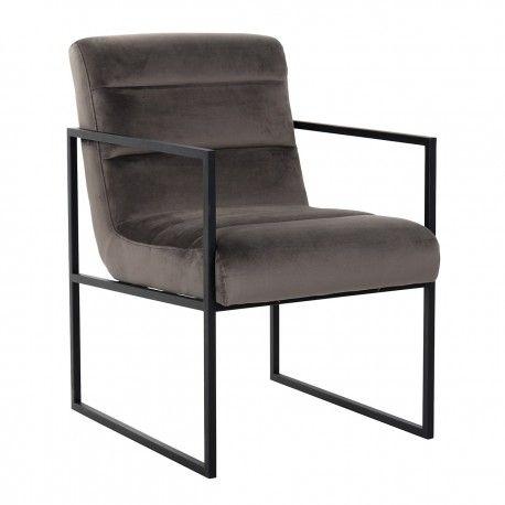 Chaise Clara Stone velvet/ black