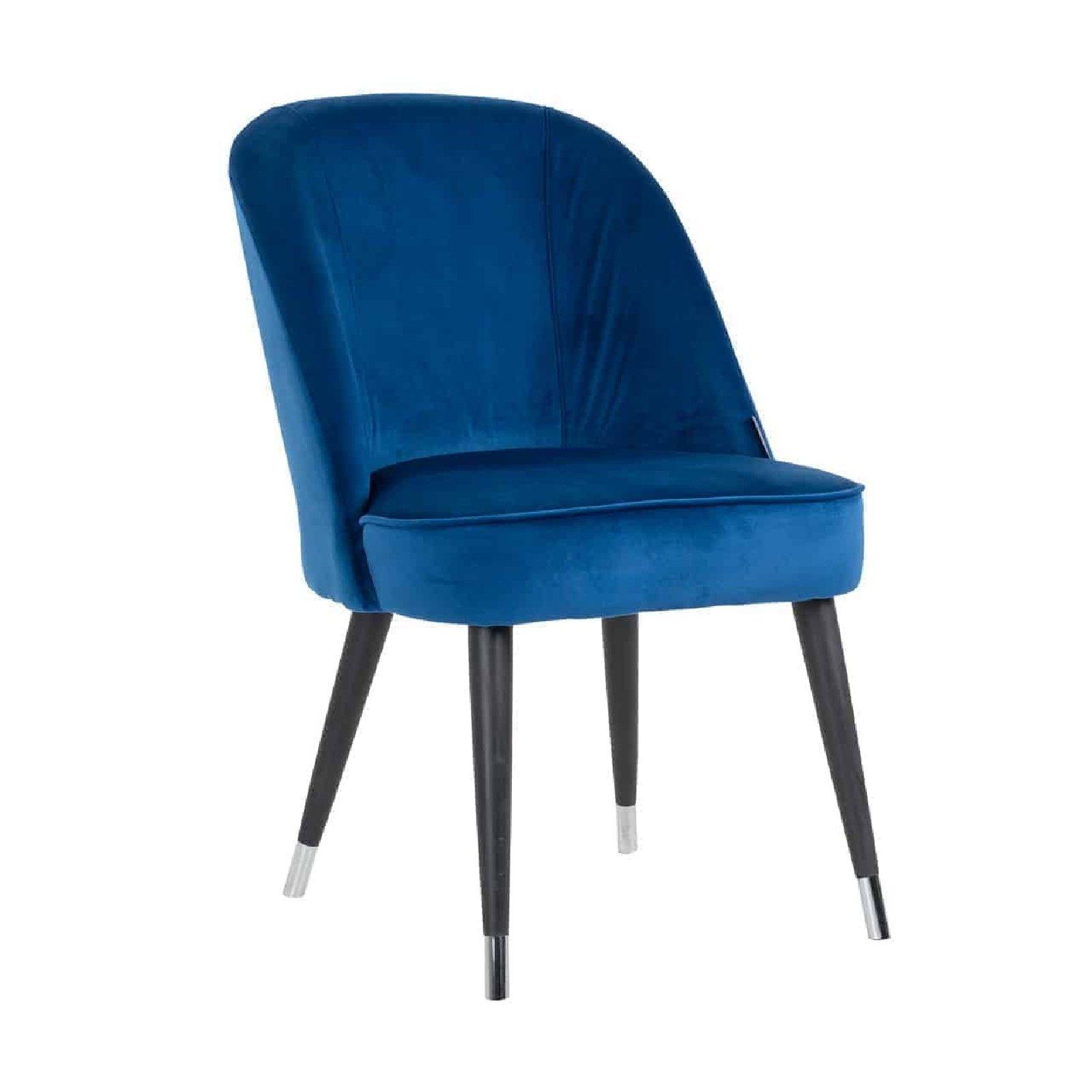 Chaise Julius, Fire Retardant Blue Velvet, Silver footcap Salle à manger - 12