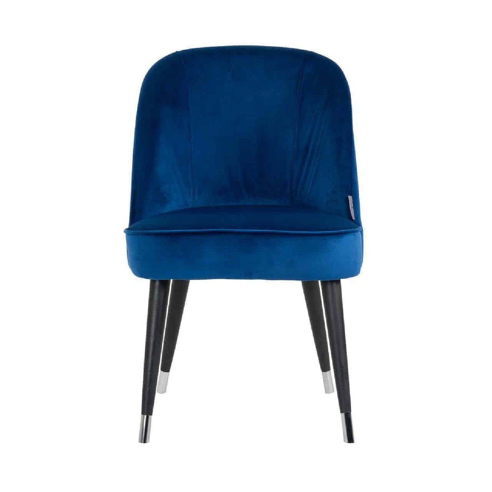 Chaise Julius, Fire Retardant Blue Velvet, Silver footcap Salle à manger - 64