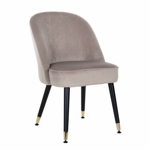 Chaise Julius Khaki Velvet, Gold footcap Salle à manger - 2