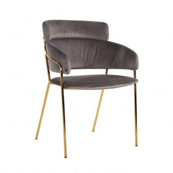 Chaise Angelica Stone velvet / gold frame Fire Retardant Salle à manger - 38