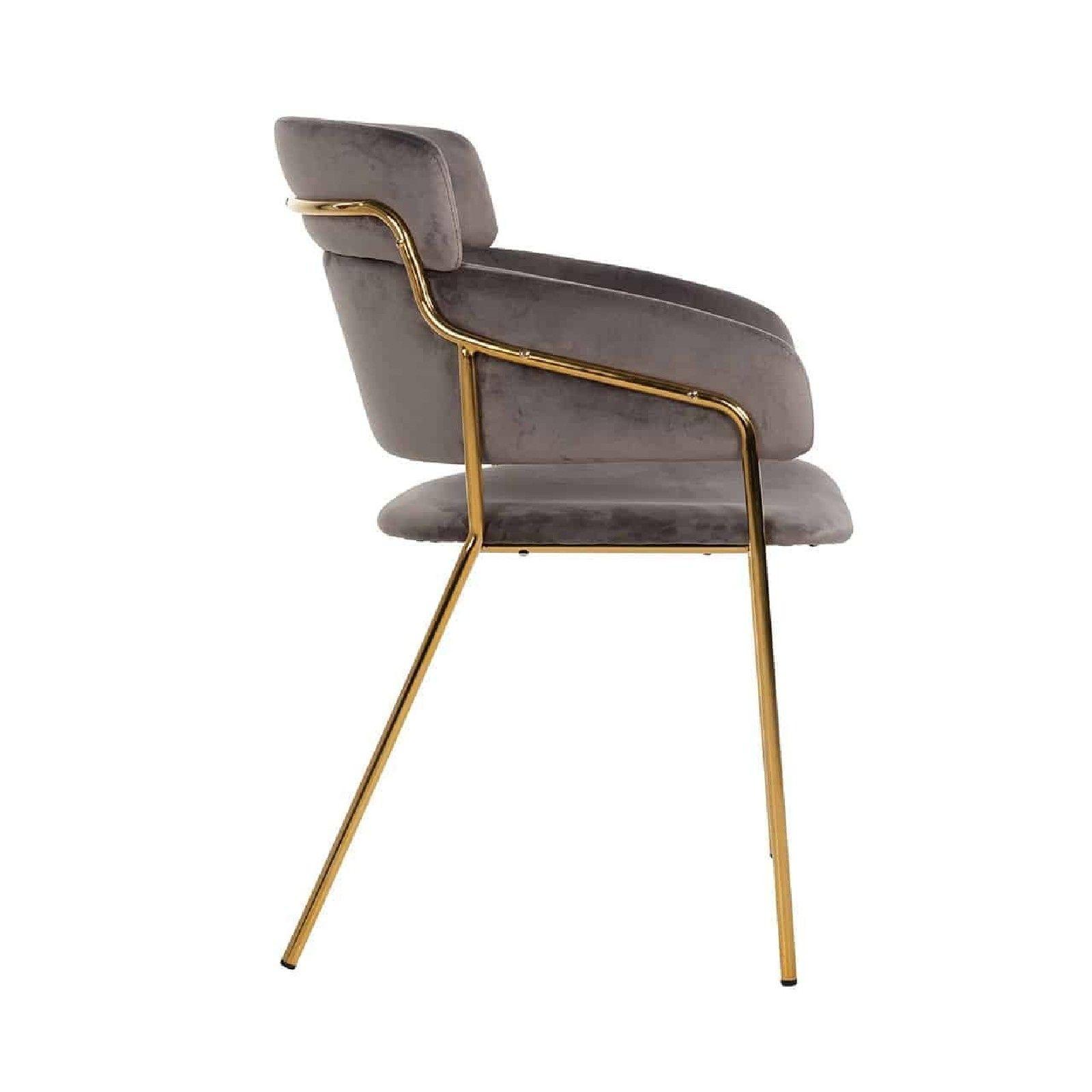 Chaise Angelica Stone velvet / gold frame Fire Retardant Salle à manger - 106