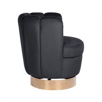 Chaise pivotante Calista Antraciet velvet / gold Meuble Déco Tendance - 103