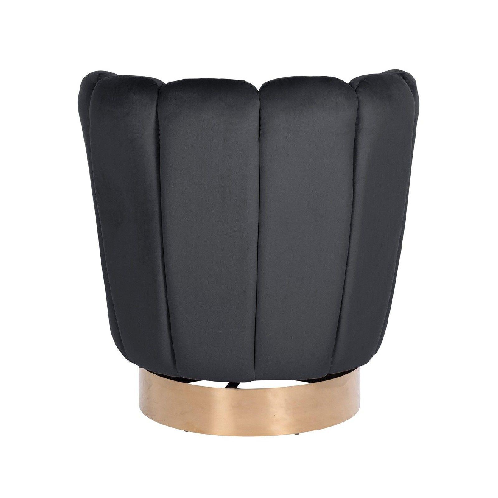 Chaise pivotante Calista Antraciet velvet / gold Meuble Déco Tendance - 208