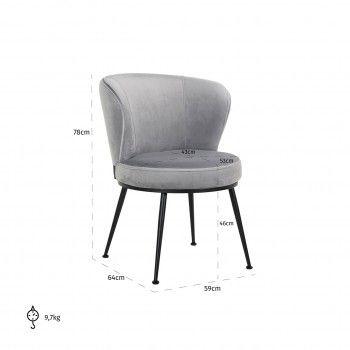 Chaise Meadow Steel velvet Salle à manger - 377