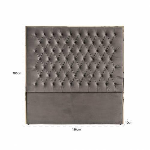 Tête de lit Lowell 180x180 Stone Velvet / argentée Meuble Déco Tendance - 144