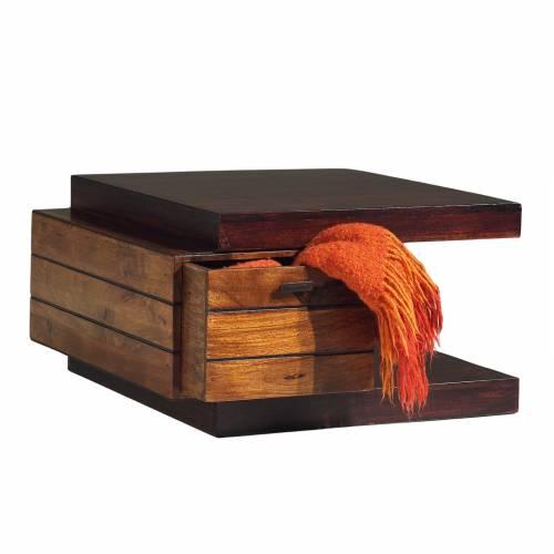 Bout de-canape en bois massif bicolore