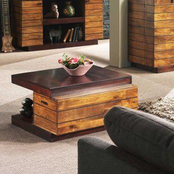 Table basse carrée en bois bicolore