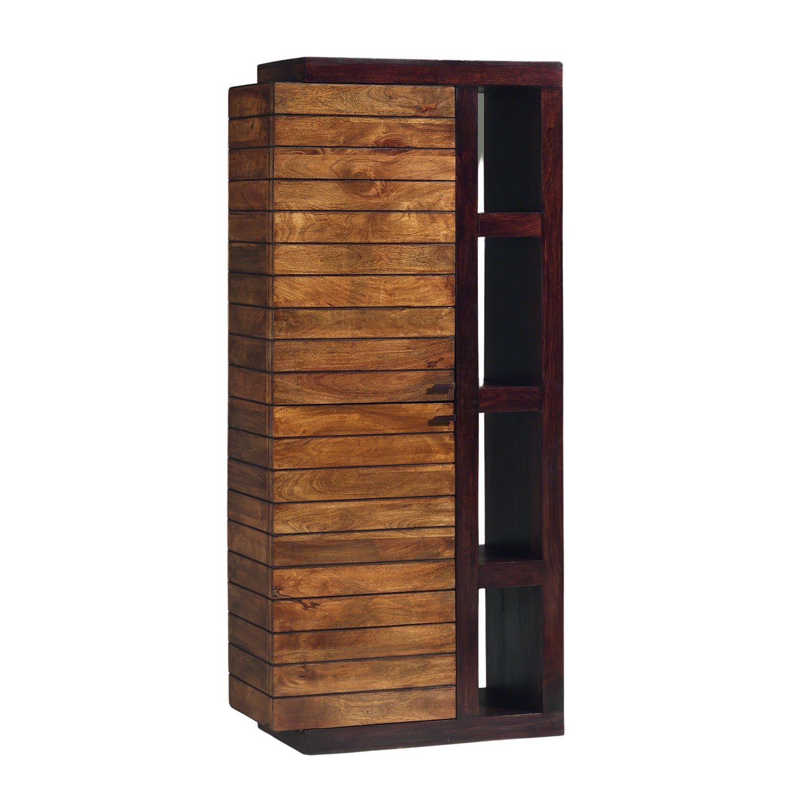 Colonne tv blibliothèque bois massif porte gauche