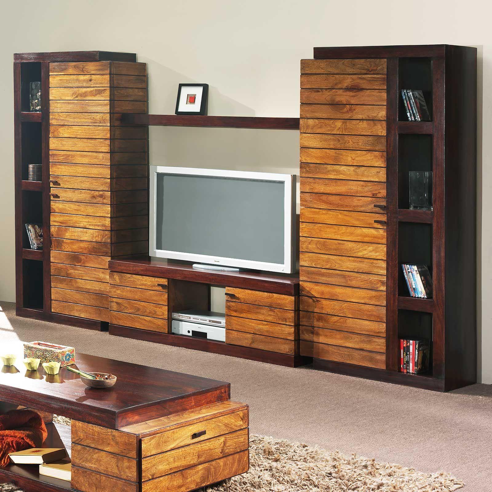 Ensemble meuble tv bois massif de qualité