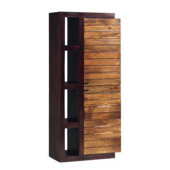 Colonne tv étagère bois massif bicolore porte droite