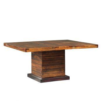 Table à manger carrée bois - Rallonge centrale