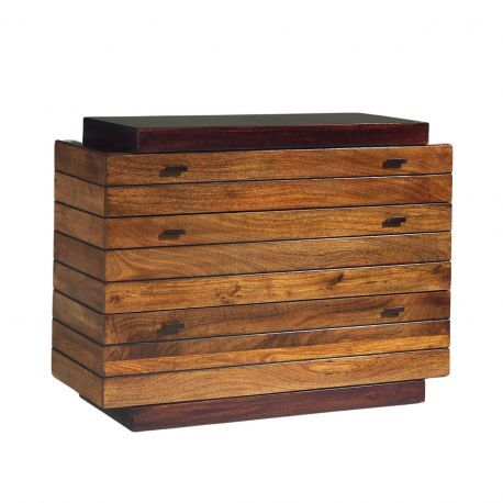 Commode bois massif bicolore 3T | Manguier Herods