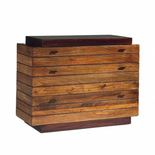 Commode en bois massif bicolore de qualité