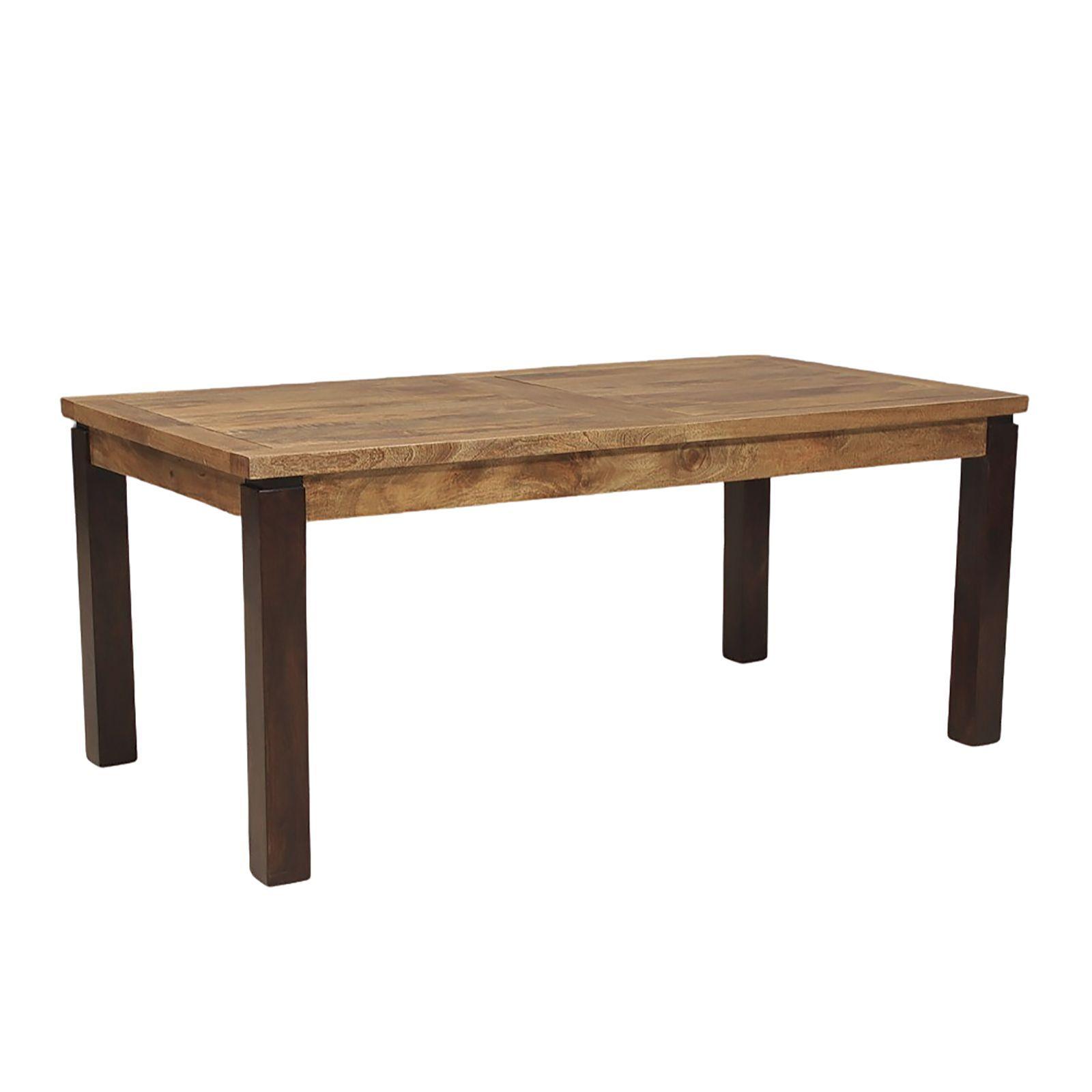 Table à manger rectangulaire avec allonge en bois exotique
