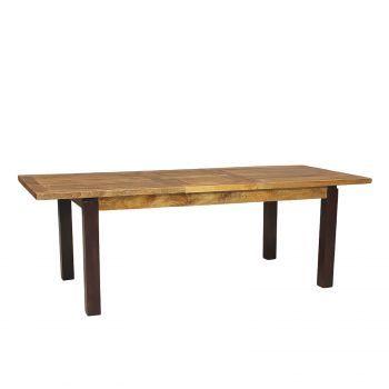 Table à diner extensible en bois massif bicolore