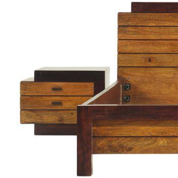 Chevet bois bicolore en bois massif - débord gauche