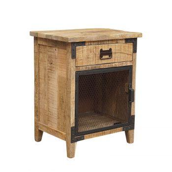 Meuble d'appoint bois brut - Fer industriel
