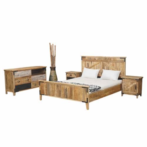 Meuble d'appoint bois brut industriel